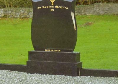 Black Shield Marble Headstone Navan Memorials Supply and Fitting