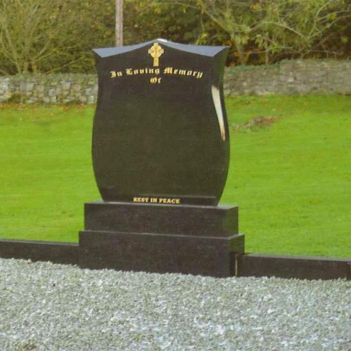 Black Shield Marble Headstone Navan Memorials Supply and Fitting