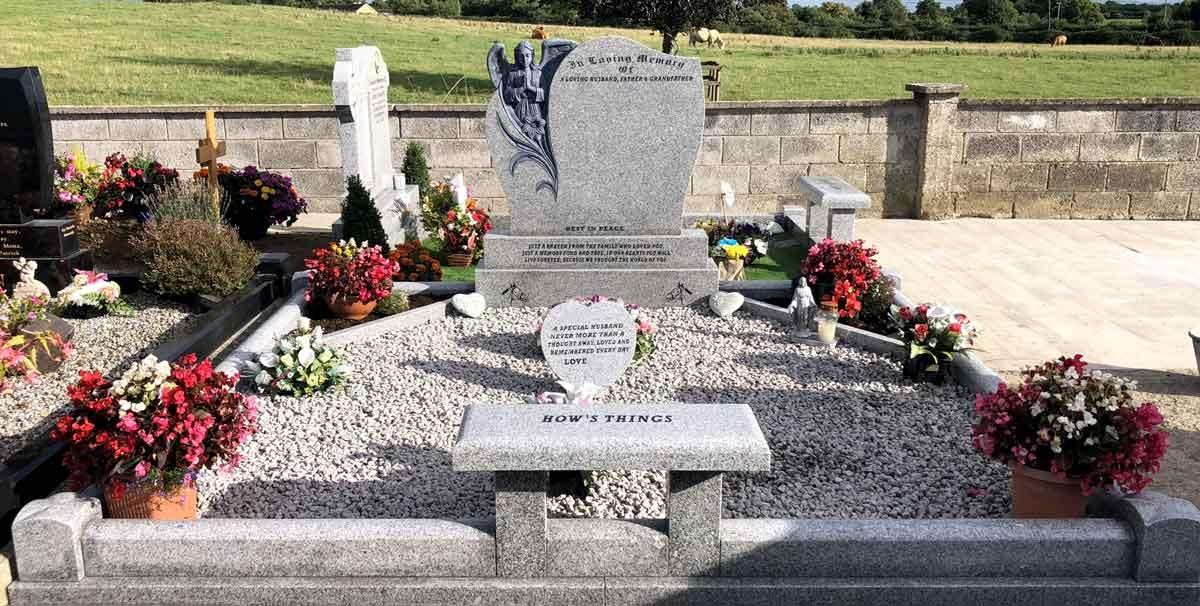 Praying-Angel-Grey-Granite-Headstone-and-surround-kerb