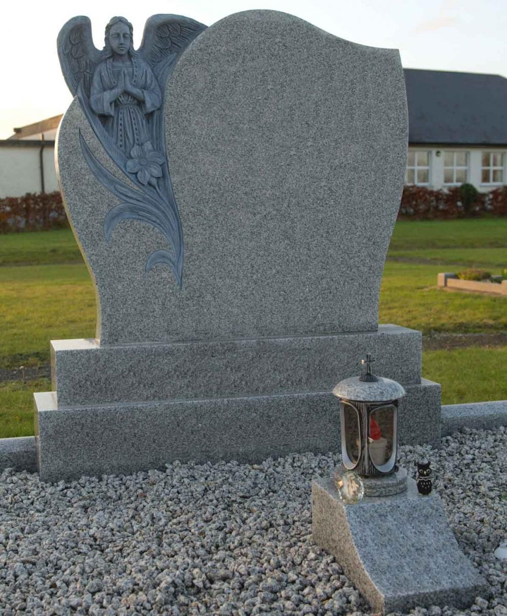 Praying-Angel-Grey-Granite-Headstone