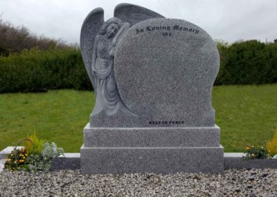 Angel with Wings Curved Headstone