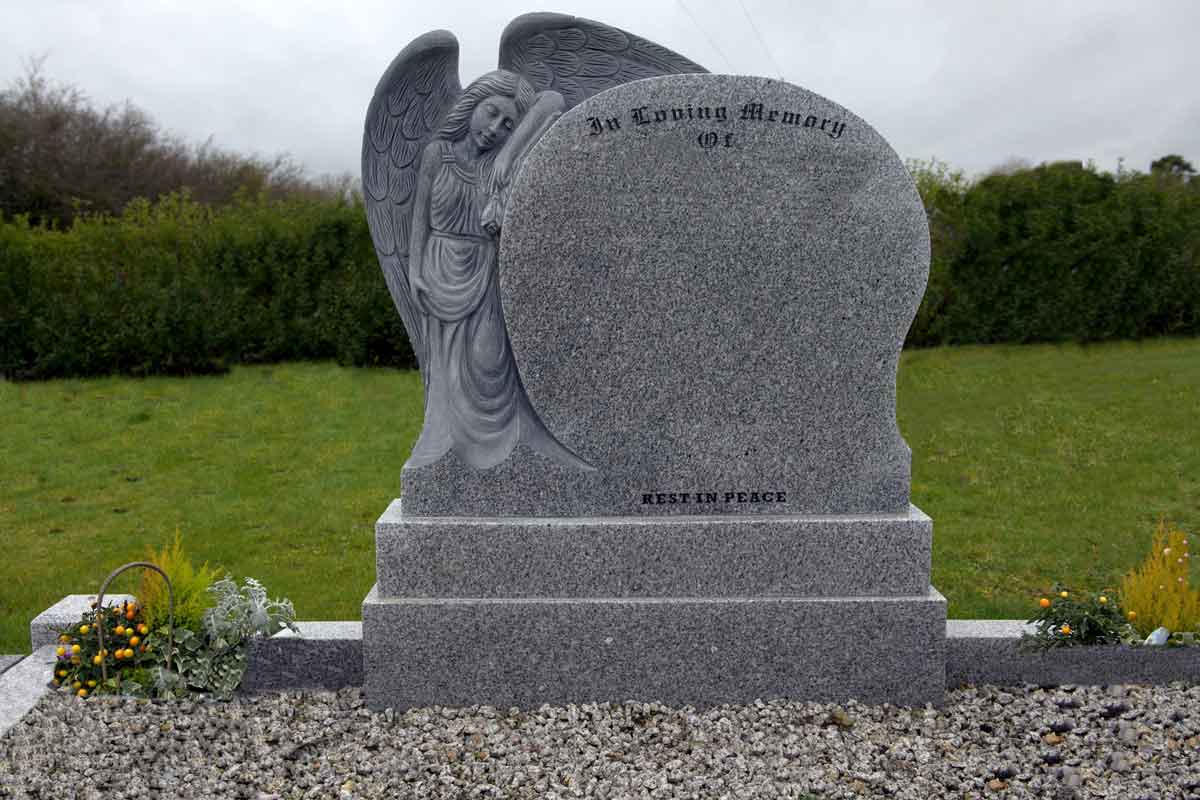 Rennicks Headstones in Meath by Navan Memorials ngel with Wings Curved Headstone by Navan Memorials